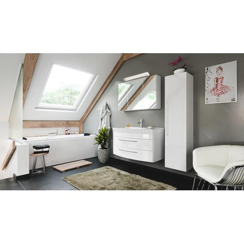 Badmöbelset Bella 100 mit runder Front Spiegelschrank LED Hochschrank weiss hg