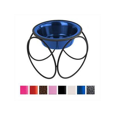 Platinum Pets Olympic Single Elevated Wide Rimmed Dog & Cat Bowl, Sapphire Blue, 0.75-cup