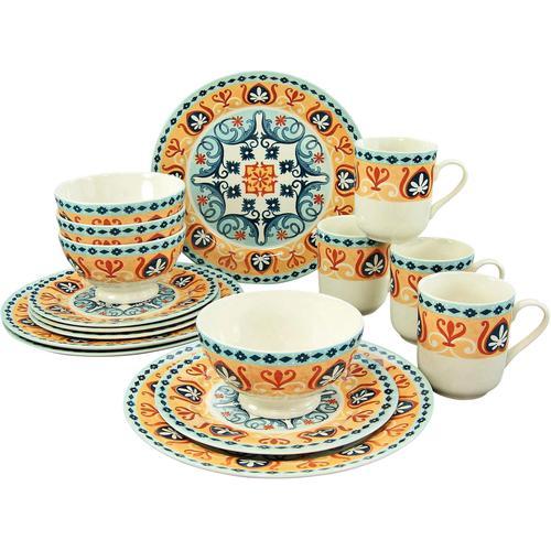 CreaTable Kombiservice Merida, (Set, 16 tlg.), spanisches Dekor bunt Geschirr-Sets Geschirr, Porzellan Tischaccessoires Haushaltswaren
