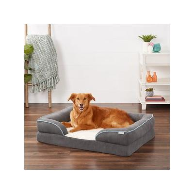Frisco Plush Orthopedic Front Bolster Cat & Dog Bed w/Removable Cover