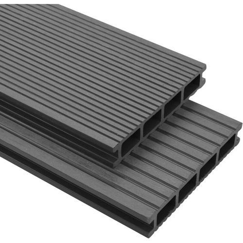 WPC Terrassendielen mit Zubeh?r 35 m2 4 m Grau