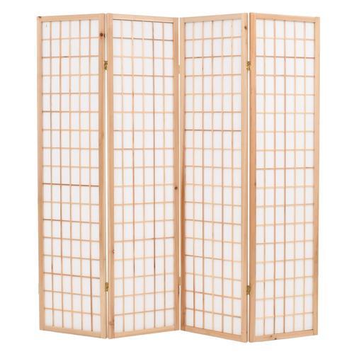 vidaXL 4-tlg. Raumteiler Japanischer Stil Klappbar 160 x 170 cm Natur