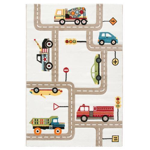 Lüttenhütt Kinderteppich Strassen, rechteckig, 13 mm Höhe, handgearbeiteter Konturenschnitt, Straßen-Spielteppich, Kinderzimmer beige Kinder Bunte Kinderteppiche Teppiche