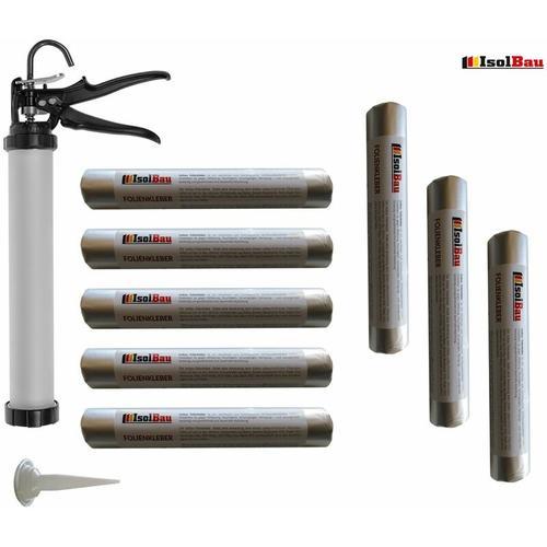 Isolbau - Folienkleber 8 x 600ml EPDM Teichfolienkleber + Schlauchbeutelpistole
