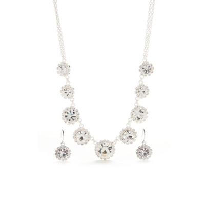 Belk Silver Silver-Tone with Crystal Floral Motif Necklace and Earrings Set