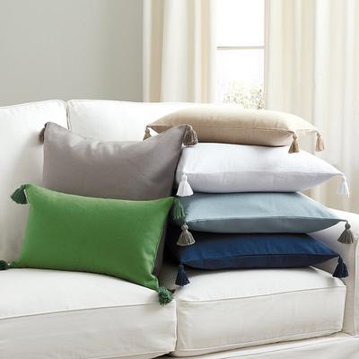 """Linen Tassel Pillow White 22"""" x 22"""" - Ballard Designs"""