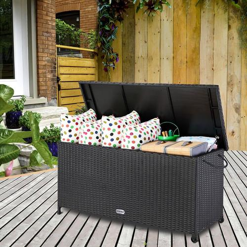 Auflagenbox 122x56x61 cm Poly Rattan Wasserdicht Rollbar 2 Gasdruckfedern Kissen Garten Box Truhe