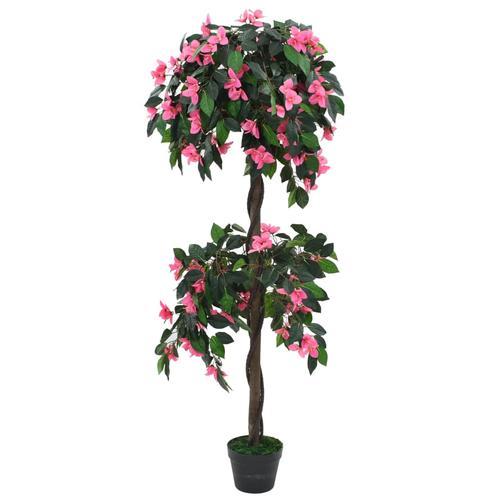 vidaXL Künstliche Rhododendron-Pflanze mit Topf 155 cm Grün und Rosa