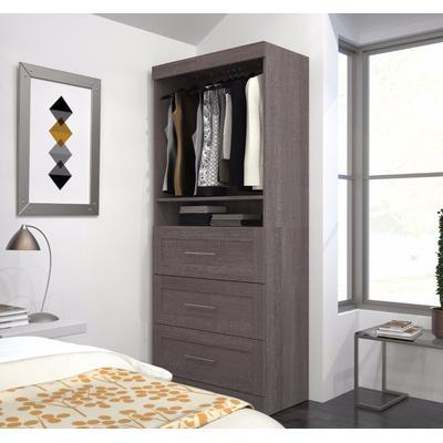 """Pur by Bestar 36"""" storage Unit w/ 3-drawer Set in Bark Gray - Bestar 26872-47"""