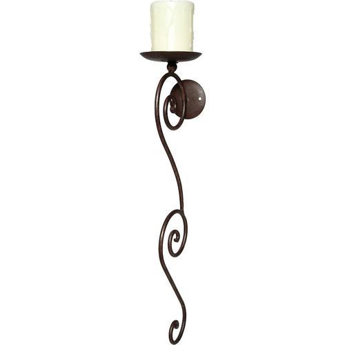 Ambiente Haus Kerzenhalter, Höhe 58 cm, Kerzen-Wandleuchter, Kerzenleuchter hängend, Wanddeko braun Wanddekoration Deko Wohnaccessoires Kerzenhalter