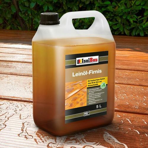 Isolbau - Natürliches LEINÖL- FIRNIS 5 L Holzöl Leinöl Firnis Harzfrei Holzschutz Gekocht