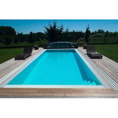 Schwimmbecken-Komplettset Premium ONE® mit Überlauf 3,20 x 8,00m und optional elektrischem Rolladen / Pool-Abdeckung