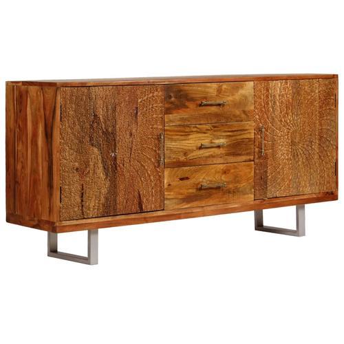 vidaXL Sideboard Akazienholz Massiv Geschnitzte Türen 158x40x75 cm