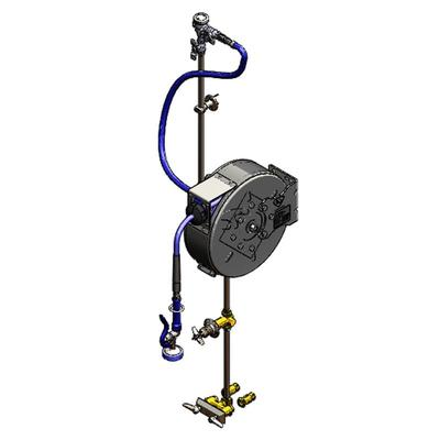 """T&S B-1432 Enclosed Hose Reel Assembly w/ 30 ft Hose & 3"""" Mixing Faucet - 3/8"""" NPT"""