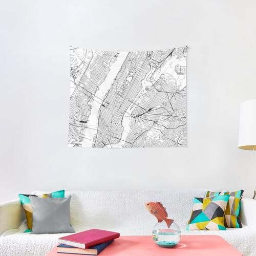 New York White Map Wall Tapestry