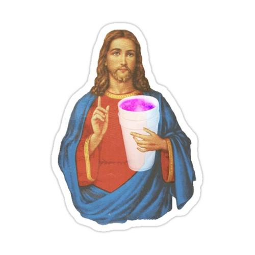 Jesus sippin' styrofoam & purp Sticker