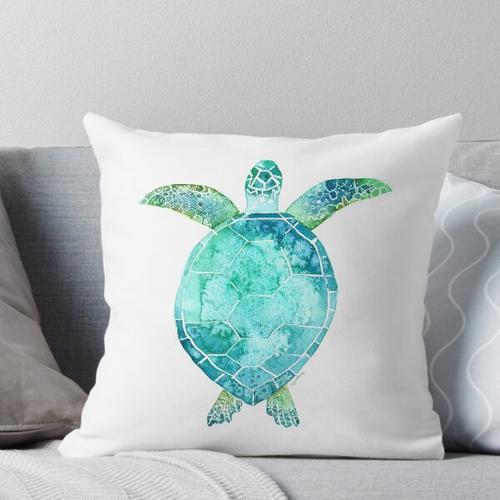 Blue Turtle, turtle art, ocean turtle swiming Throw Pillow