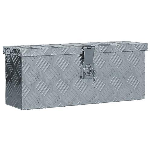 vidaXL Aluminiumkiste 48,5 x 14 x 20 cm Silbern