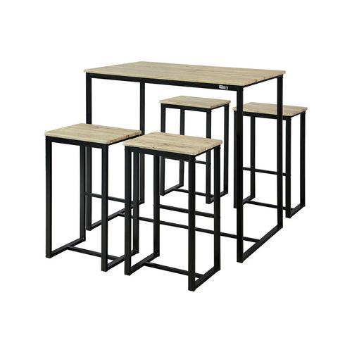 Bartisch,Set 5-teilig Stehtisch,Bistrotisch mit 4 Stühlen,Höhe 96cm, OGT15-N - Sobuy