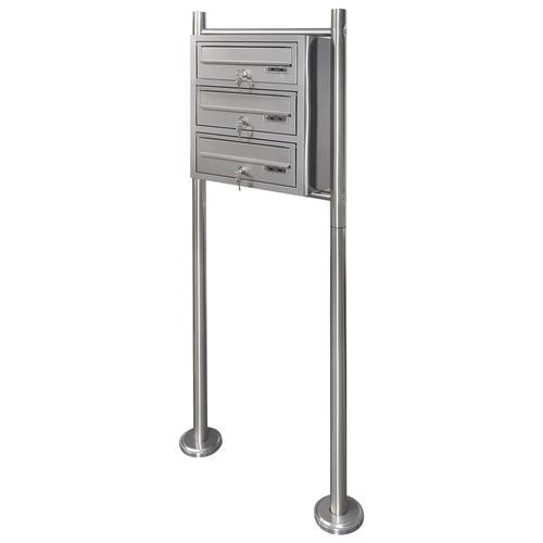 vidaXL Dreifach-Briefkasten mit Standfuß aus Edelstahl
