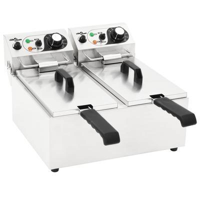 vidaXL Friteuse double électrique Acier inoxydable 12 L 4000 W