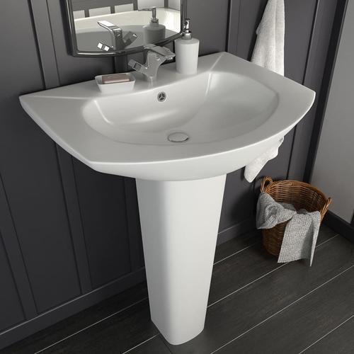 vidaXL Freistehendes Waschbecken mit Säule Keramik Weiß 650x520x200 mm