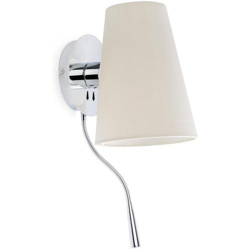 Wandleuchte LUPE mit LED-Leselicht IP20 Chrom, Weiß
