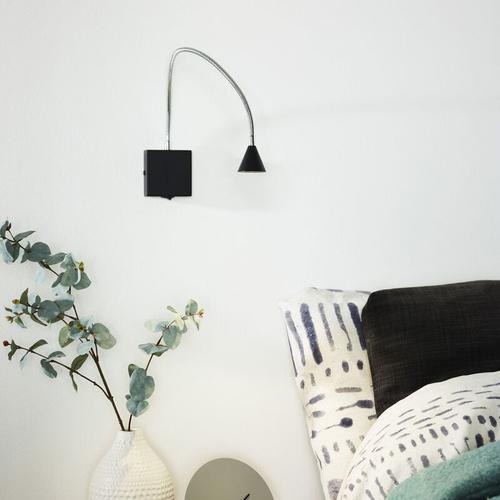 LED Wandleuchte Buddy, flexibel, neutralweiß, schwarz