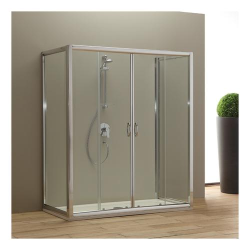 Duschtür 180 Cm Giada Mit 2 Festen Türen 80 Cm Transparentes Kristallglas