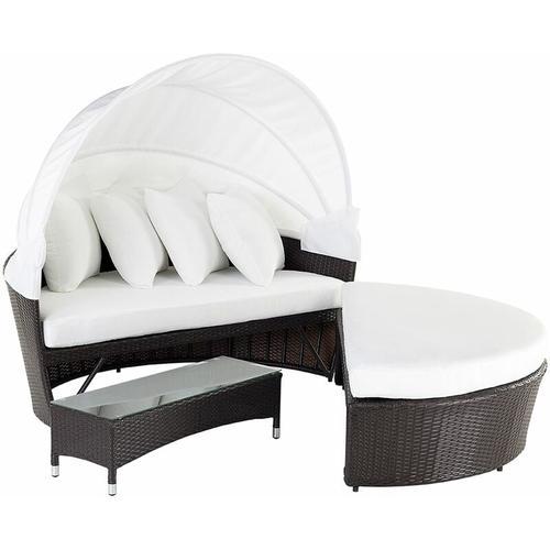 Strandkorb dunkelbraun/cremeweiß Polyrattan Baumwolle 2-Sitzer Sonnendach inkl. Kissen Ottomane