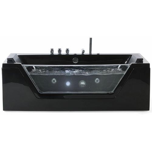 Beliani - Whirlpool-Badewanne Schwarz Sanitäracryl Modern