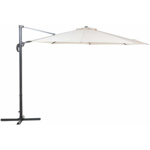 Ampelschirm Beige Polyester Rund ⌀ 300 cm Kreuzfuß Terrasse Garten