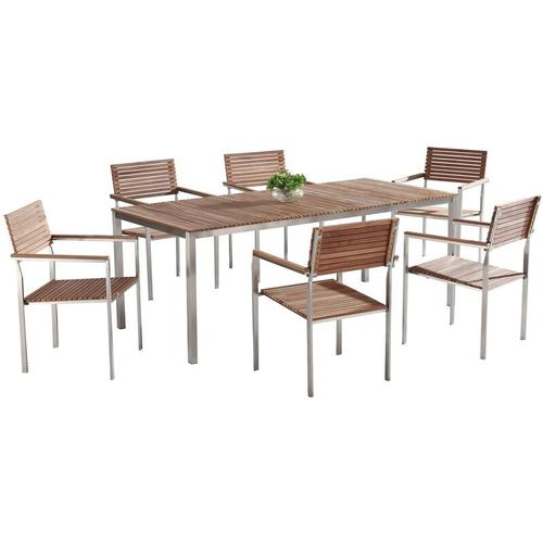 Beliani - Gartenmöbel Set Braun Teakholz Edelstahl 200 cm 6 Stühle Terrasse Outdoor Modern