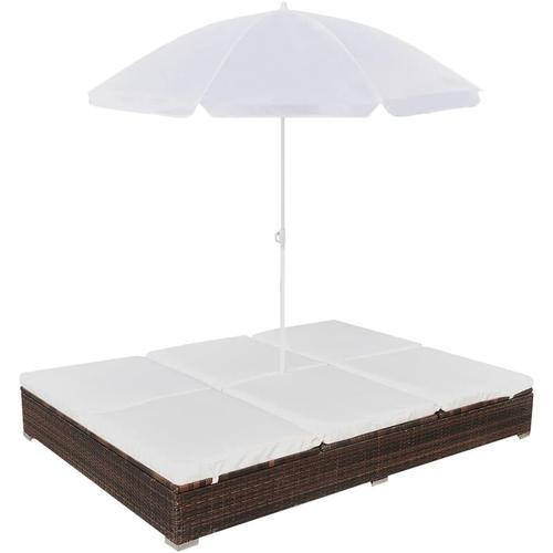 Outdoor-Loungebett mit Sonnenschirm Poly Rattan Braun