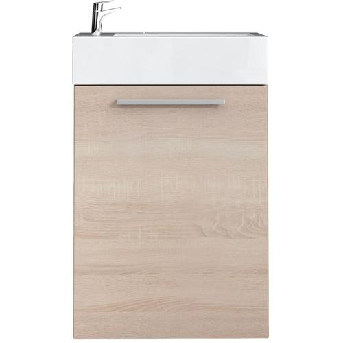 WC Badmöbel Athene 40x22 cm eiche hell - Schrank Waschbecken Badezimmer Toilette