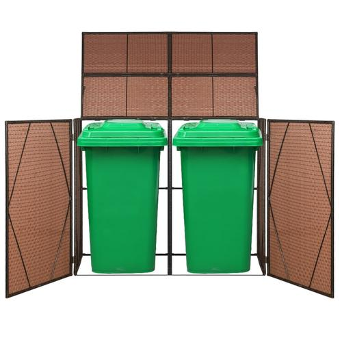 vidaXL Mülltonnenbox für 2 Tonnen Poly Rattan 153 x 78 x 120 cm Braun