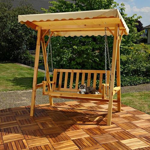 Mucola - Hollywoodschaukel Gartenschaukel Hängeschaukel Schaukelbank Holz Dach Schaukel
