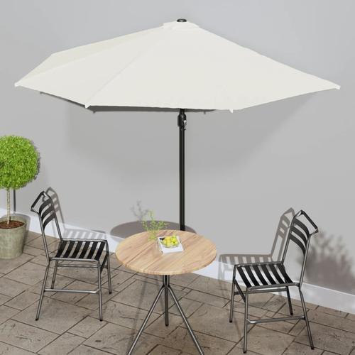 vidaXL Balkon-Sonnenschirm mit Alu-Mast Sandfarben 300×150 cm Halbrund