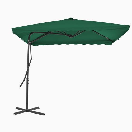 vidaXL Sonnenschirm mit Stahl-Mast 250×250 cm Grün