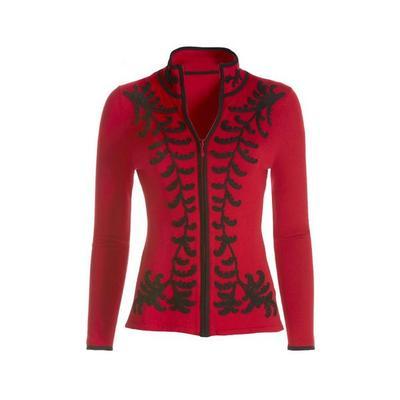 Boston Proper - Scroll Detail Zip Cardigan - Red/black - Large