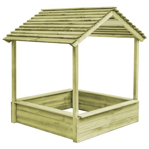 vidaXL Garten-Spielhaus mit Sandkasten 128×120×145 cm Kiefernholz