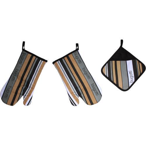 bugatti Topfhandschuhe Tape, (Set, 3 tlg., bestehend aus 2x Ofenhandschuh, 1x Topflappen) bunt Topflappen und Topfhandschuh Kochen Backen Haushaltswaren