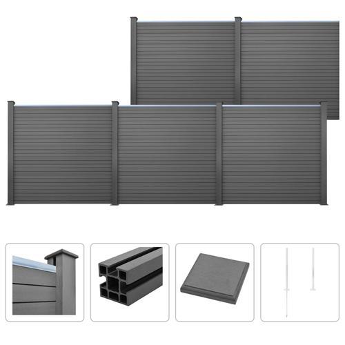 vidaXL WPC Zaun-Set 5 Quadrate 879 x 187 cm Grau