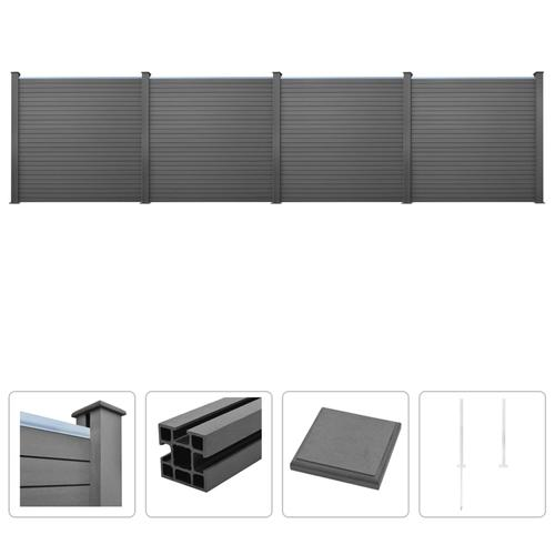 vidaXL WPC Zaun-Set 4 Quadrate 705 x 187 cm Grau