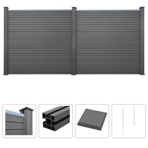 vidaXL WPC Zaun-Set 2 Quadrate 357 x 187 cm Grau