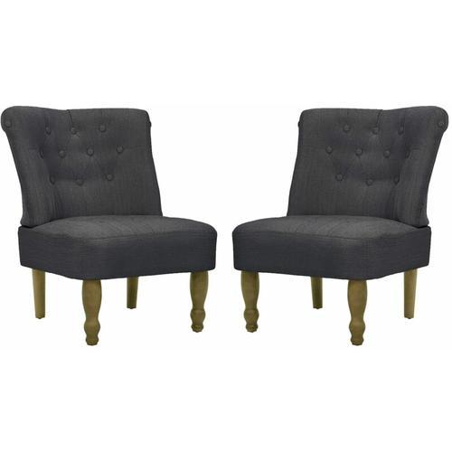 Französischer Sessel Stoff Grau 2 Stk.