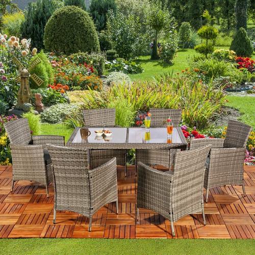 Sitzgruppe Gartengruppe Gartenmöbel Esstisch 6 Stühle Tisch Grau Poly Rattan