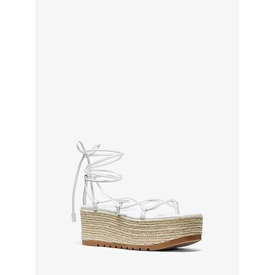 Michael Kors Mabal Leather Flatform Sandal White 38