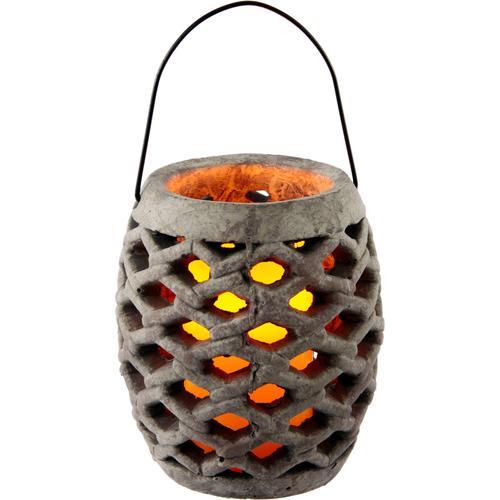 I.GE.A. Laterne Keramik Windlicht mit LED, Maße (H): 17 cm grau Kerzenhalter Kerzen Laternen Wohnaccessoires