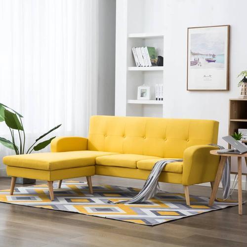 vidaXL Sofa in L-Form Stoffbezug 186 x 136 x 79 cm Gelb